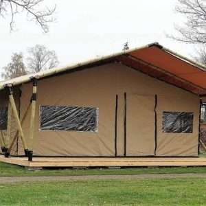 wooden safari tent